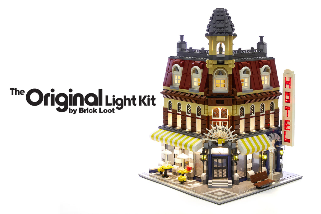 Cafe Corner LEGO set 10182 with the Brick Loot LED Light kit and optional flashing Hotel sign installed.  The exterior and interior lights are brilliant day and night!