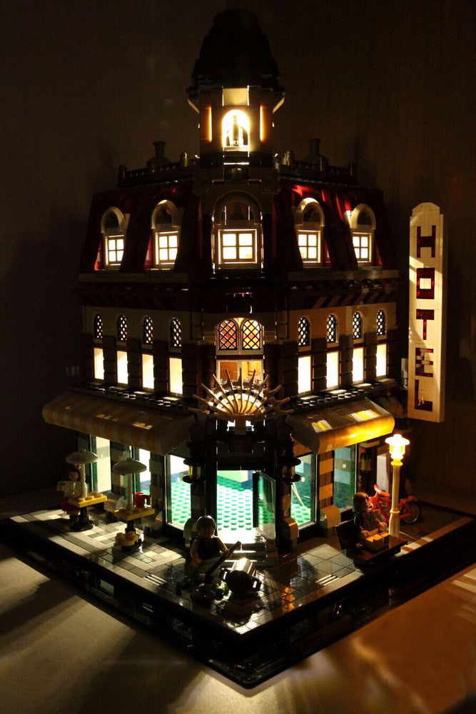Cafe Corner LEGO set 10182 with the Brick Loot LED Light kit installed.  The exterior and interior lights are brilliant day and night!