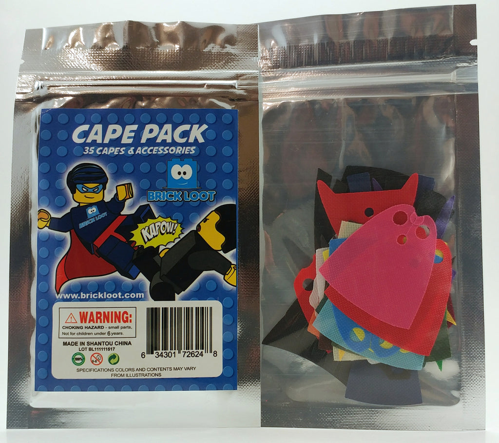 Brick Loot Cape Pack - 35 Fabric Capes and Accessories (Minifigures not included), sold in blister packaging
