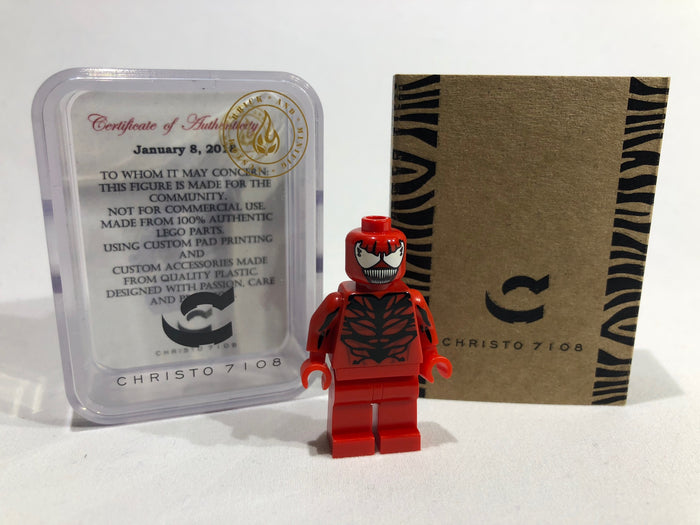 Christo Custom Pad Printed Carnage LEGO Minifigure - LIMITED EDITION