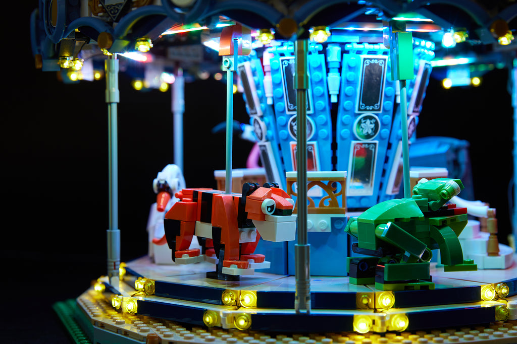 Close up of the LEGO Carousel set 10257 with the Brick Loot Light kit with 168 LEDs..