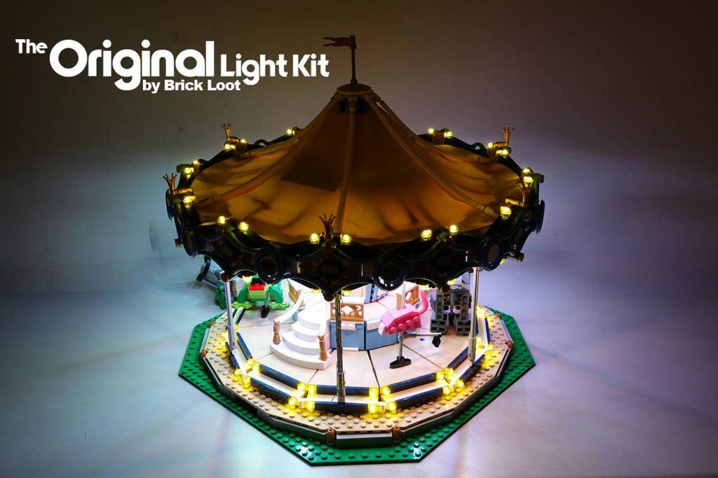 LEGO Carousel set 10257 with the Brick Loot Light kit with 168 LEDs.