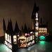 Interior of the LEGO Harry Potter Hogwarts Castle set 71043 with the Brick Loot LED Light Kit installed.