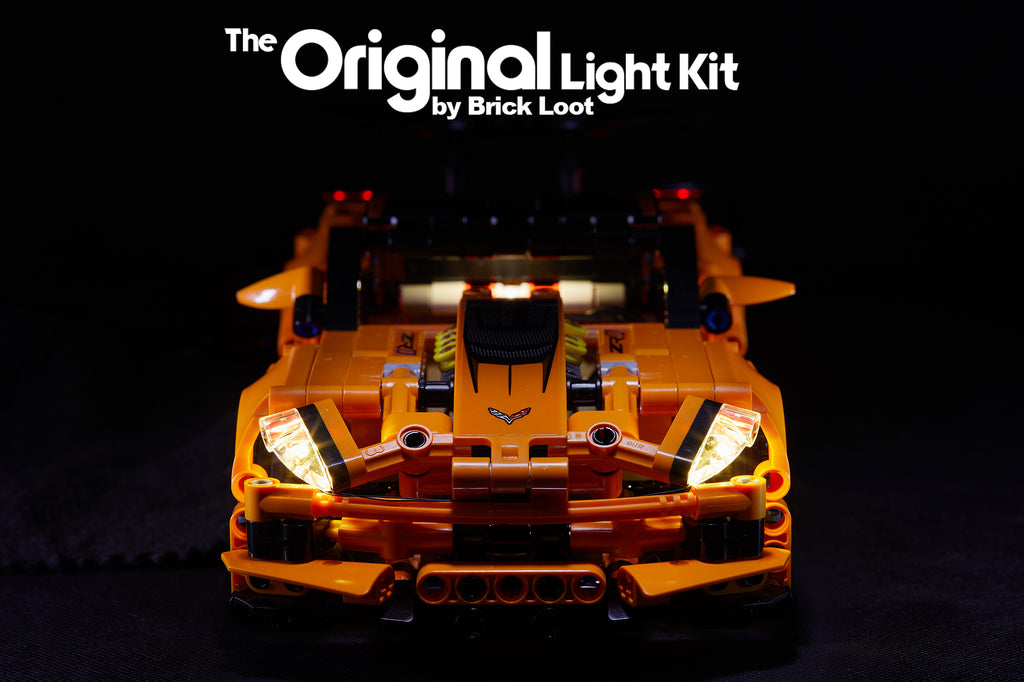 Front view of the LEGO Chevrolet Corvette ZR1 set 42093, lit up with the custom Brick Loot LED Light Kit.