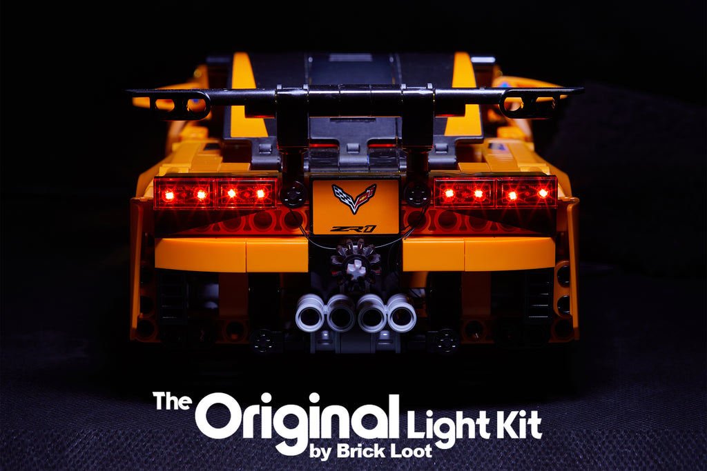 Back view of the LEGO Chevrolet Corvette ZR1 set 42093, lit up with the custom Brick Loot LED Light Kit.