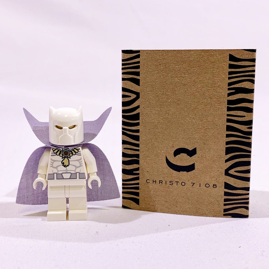 Christo Custom Pad Printed White Panther Minifigure on LEGO parts - LIMITED EDITION