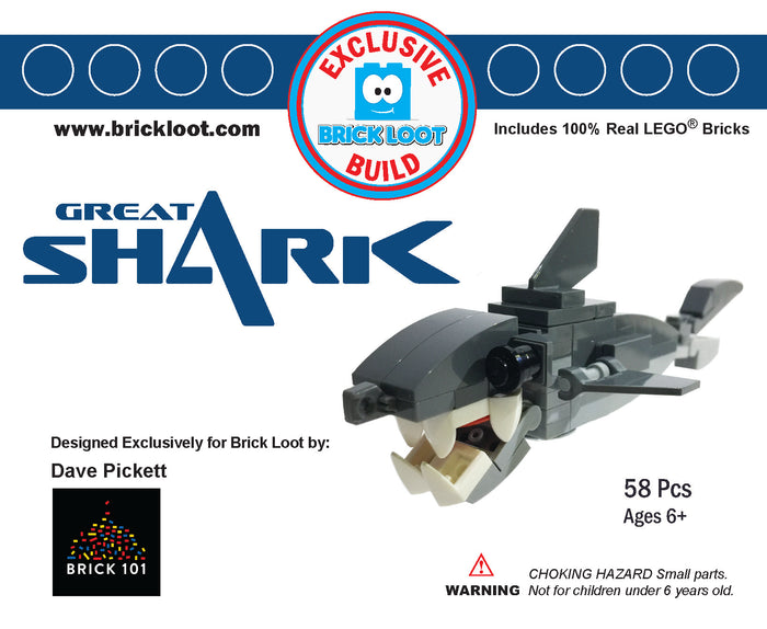 Exclusive Brick Loot Great Shark by David Pickett - 100% LEGO
