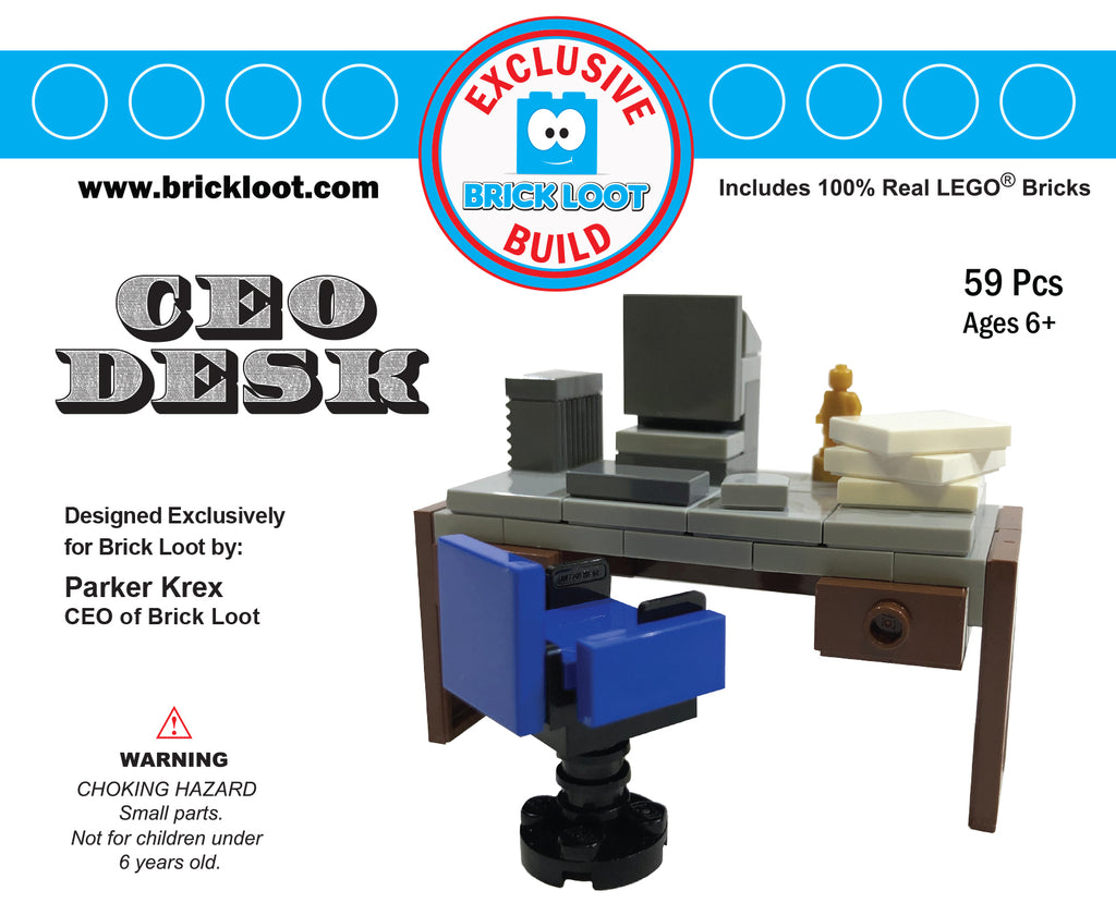 Exclusive Brick Loot Build CEO Desk by Parker Krex – 100% LEGO Bricks