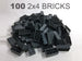 100 2x4 bluish gray bricks - LEGO Compatible - manufactured and sold by Brick Loot