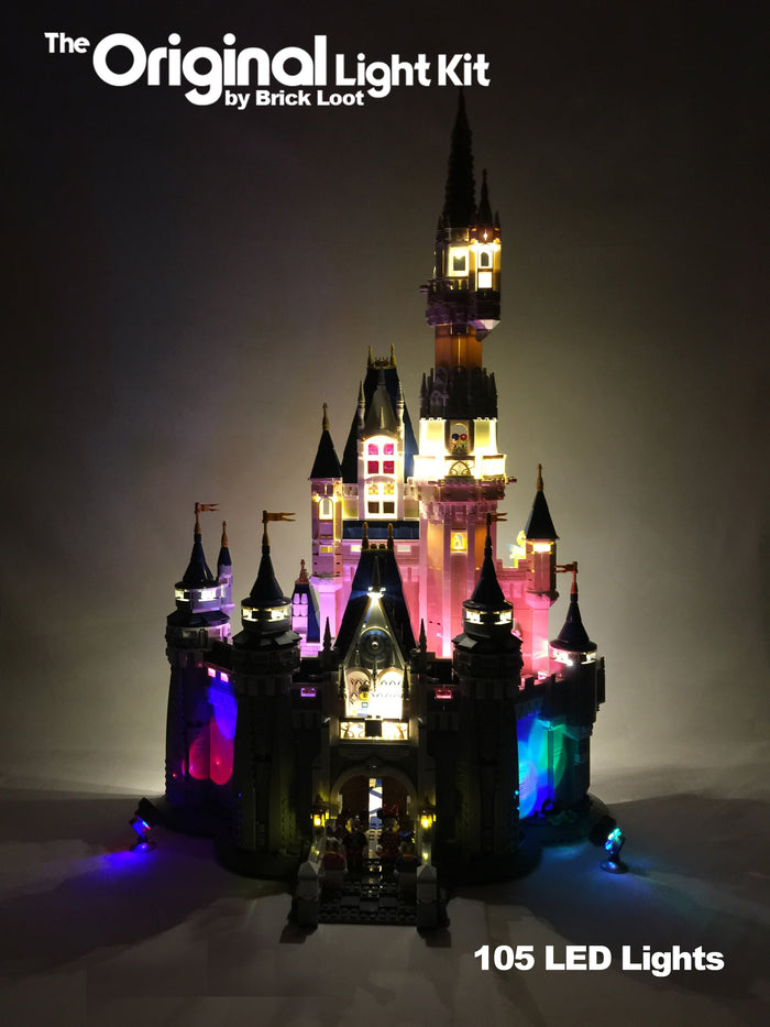 Exterior of the LEGO Disney Castle set 71040, beautifully illuminated with the Brick Loot LED Light Kit with 105 LED lights.