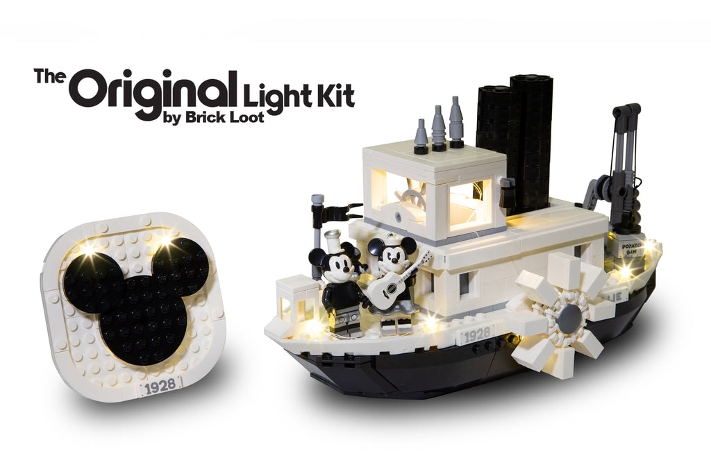 LEGO Disney Steamboat Willie FULL set 21317 with Brick Loot LED Lights with a white background.