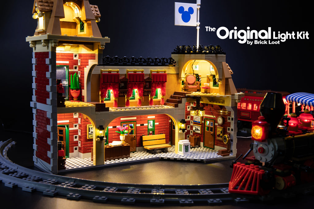 Close-up of the inside of the LEGO Disney Train and Station set 71044, completely lit up with the Brick Loot LED Light Kit.