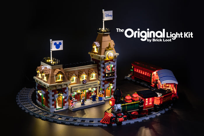 LEGO Disney Train and Station set 71044, completely lit up with the Brick Loot LED Light Kit.