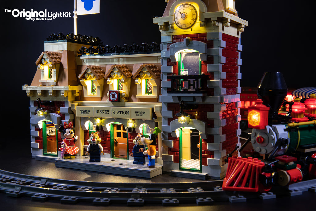 Close-up of the LEGO Disney Train and Station set 71044, completely lit up with the Brick Loot LED Light Kit.