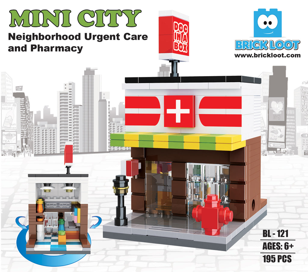 Brick-Loot-Mini-City-Neighborhood-Urgent-Care-and-Pharmacy-100%-LEGO-Compatible-Bricks