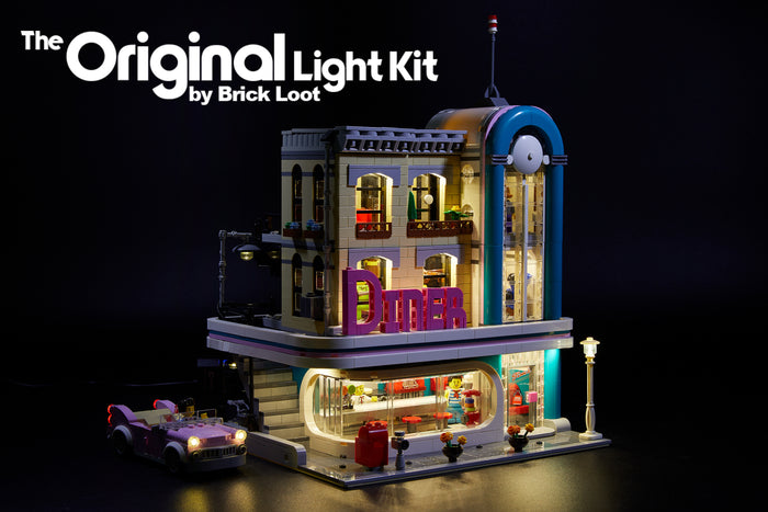 LEGO Downtown Diner set 10260, brilliantly illuminated with the Brick Loot LED light kit!