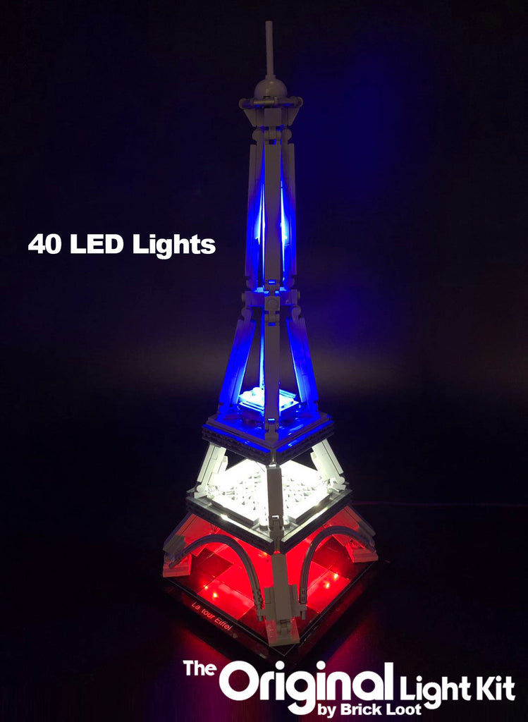 LEGO Architecture Eiffel Tower set 21019 with the beautiful Brick Loot LED Light Kit installed!