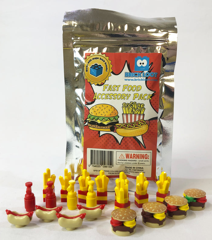Toy Fast Food Accessory Pack - Major Brand Brick Compatible
