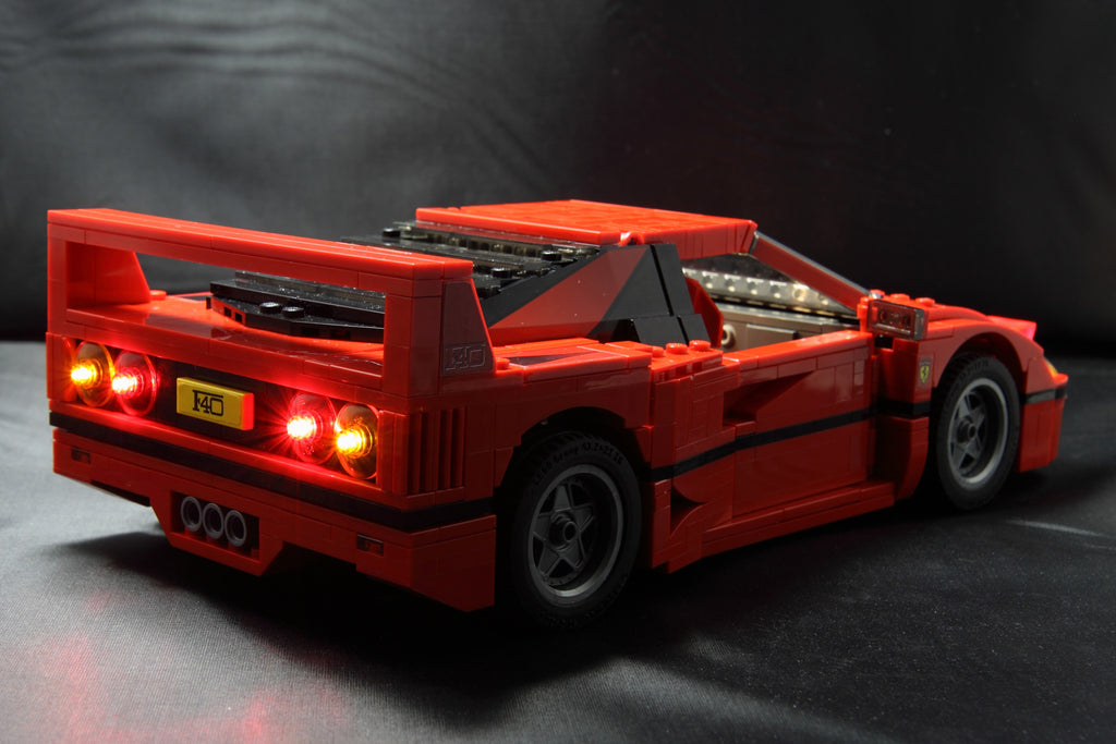 Brick Loot custom LED lighting kit installed on the LEGO Ferrari F40 set 10248, rear view.