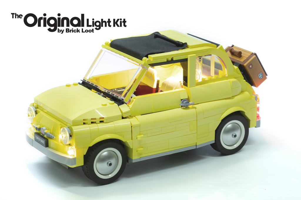 LEGO Fiat 500 set 10271 with the custom Brick Loot LED Light kit installed. Brilliant LEDs illuminate the front headlights, interior, and tail lights of the Fiat model. Brilliant during hte day and at night!