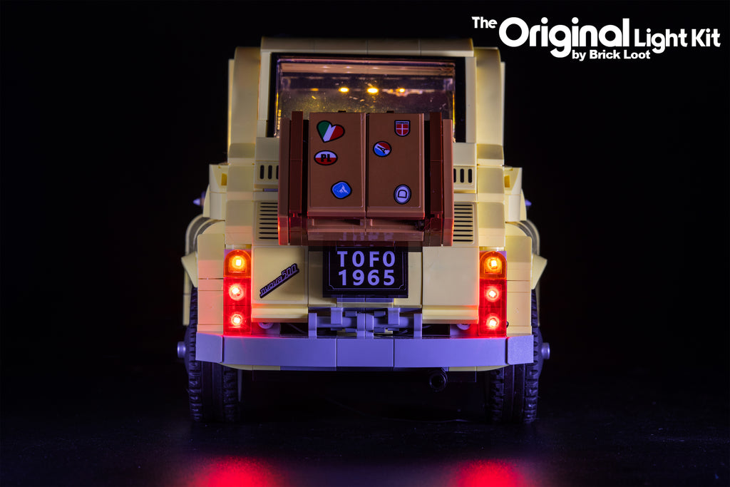 Close-up of the rear view of the LEGO Fiat 500 set 10271 with the custom Brick Loot LED Light kit installed.