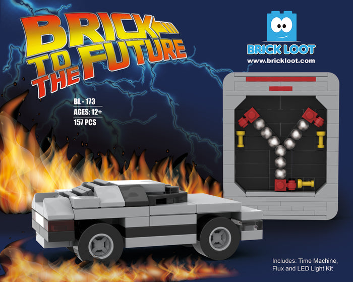 Exclusive Brick Loot Flux Capacitor with LED Light Kit and Time Machine Car
