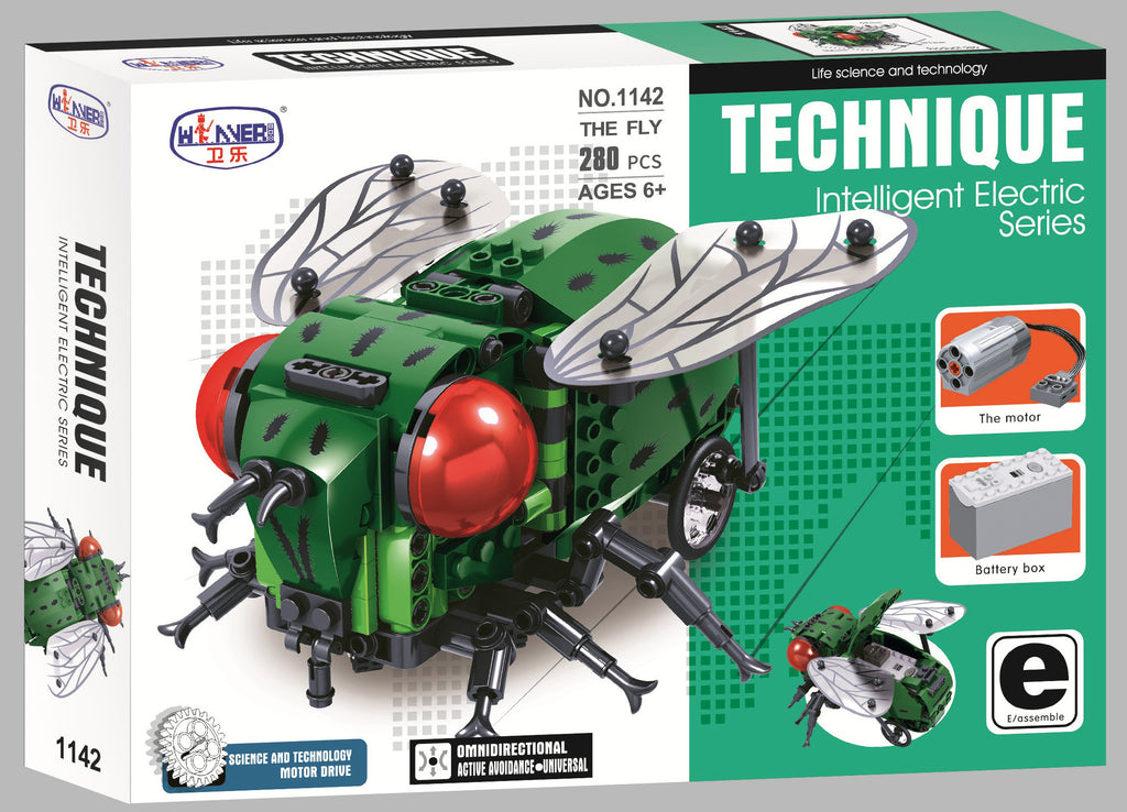The Fly Electric Building set with motor and brick battery box. Sold by Brick Loot with or without the retail box.