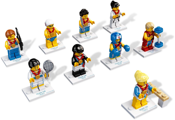 LEGO-8909-Complete-Set-of-9-GB-Olympic-Team-Minifigures-Series