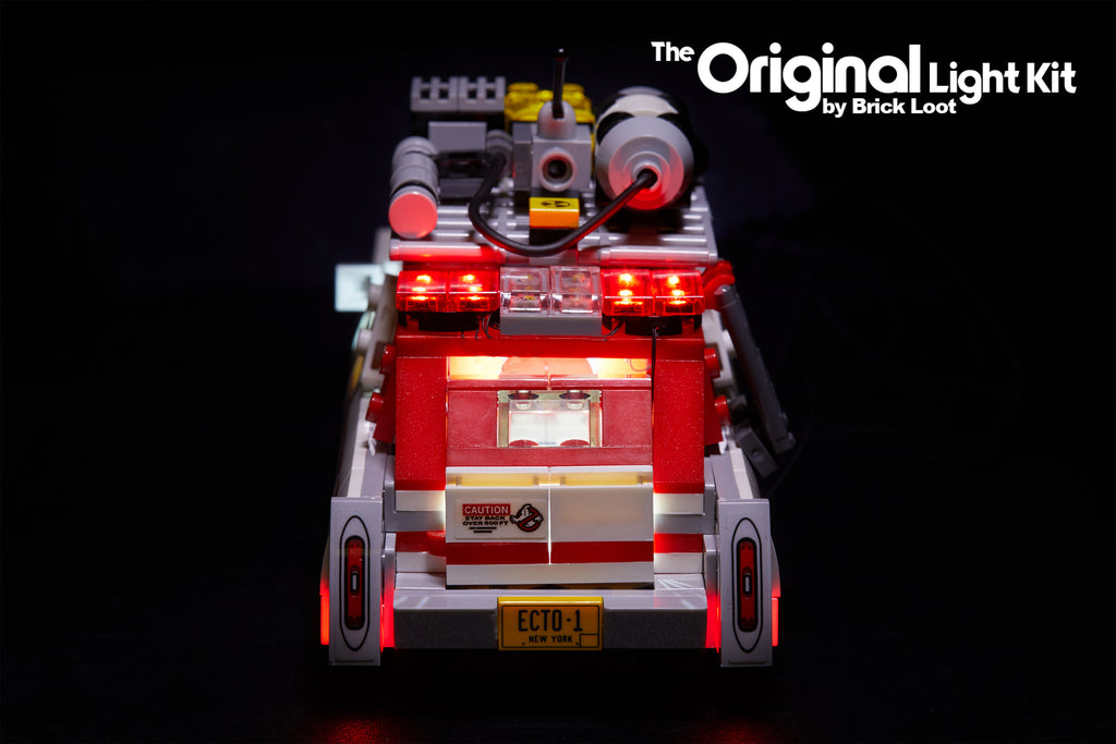 Rear view of the LEGO Ghostbusters Ecto-1 & 2 car set 75828 with the Brick Loot LED Light Kit.