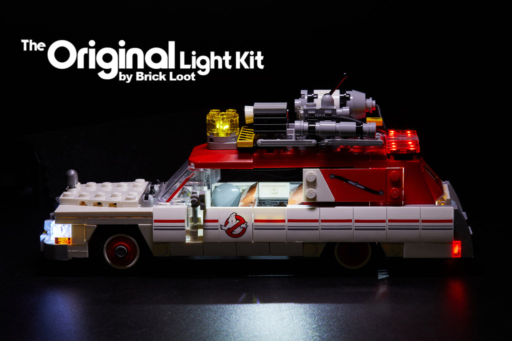 Side-view of the LEGO Ghostbusters Ecto-1 & 2 car set 75828 with the Brick Loot LED Light Kit.