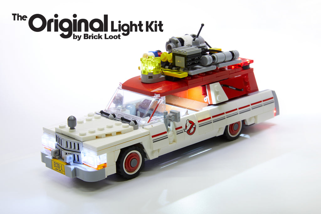 LEGO Ghostbusters Ecto-1 & 2 car set 75828 with the Brick Loot LED Light Kit.