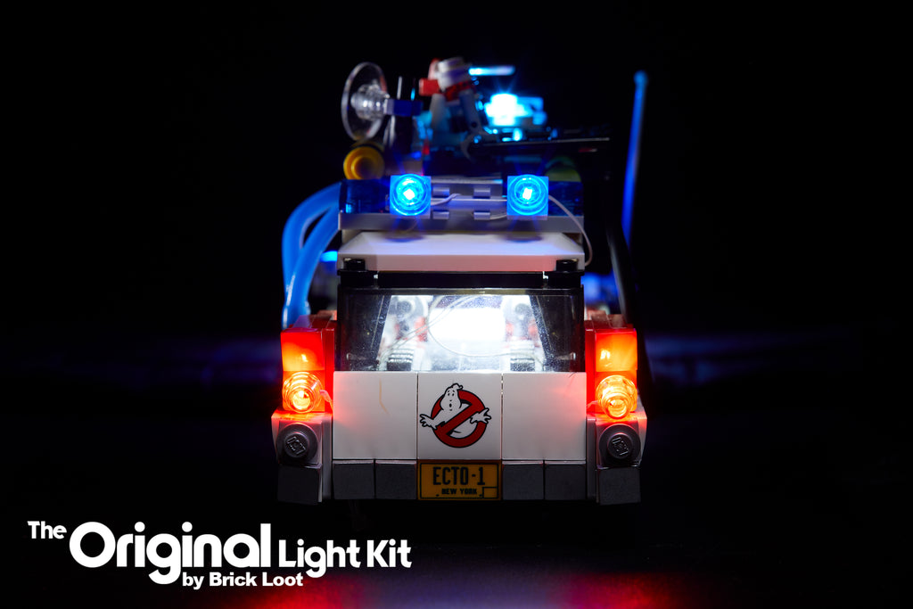 Rear view of the LEGO Ghostbusters Ecto-1 set 21108 with Brick Loot LED Light Kit installed!