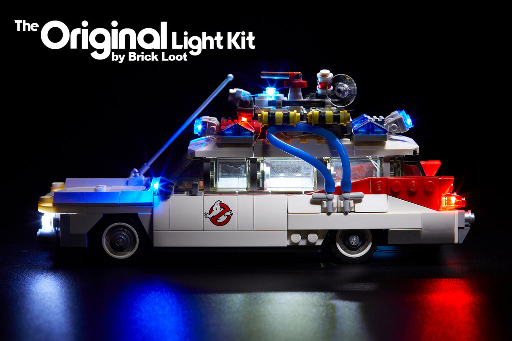 Side view of the LEGO Ghostbusters Ecto-1 set 21108 with Brick Loot LED Light Kit installed!