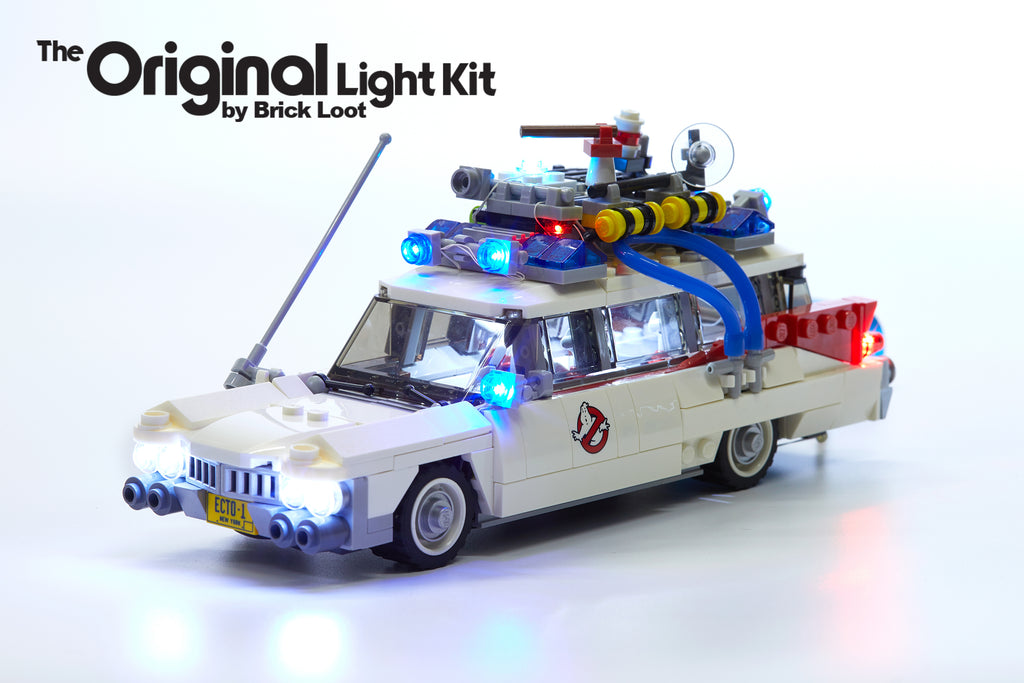 LEGO Ghostbusters Ecto-1 set 21108 with Brick Loot LED Light Kit installed!