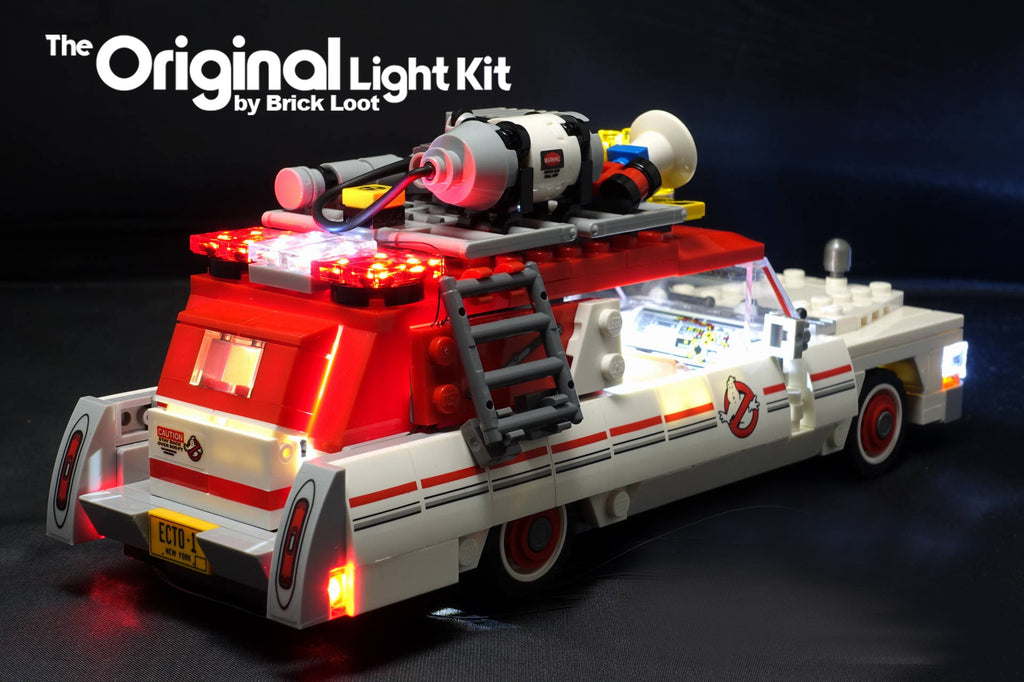 Back and side of the LEGO Ghostbusters Ecto-1 & 2 car set 75828 with the Brick Loot LED Light Kit.