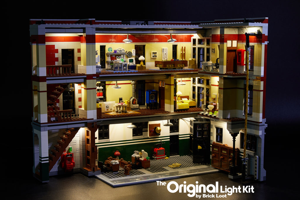 Inside of the LEGO Ghostbusters Firehouse Headquarters set 75827, illuminated with the Brick Loot LED Light Kit.