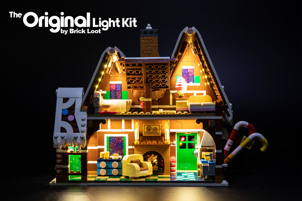 Interior of the LEGO Gingerbread House set 10267, beautifully illuminated with the Brick Loot LED Light kit!