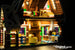 Close-up of the interior of the LEGO Gingerbread House set 10267, beautifully illuminated with the Brick Loot LED Light kit!