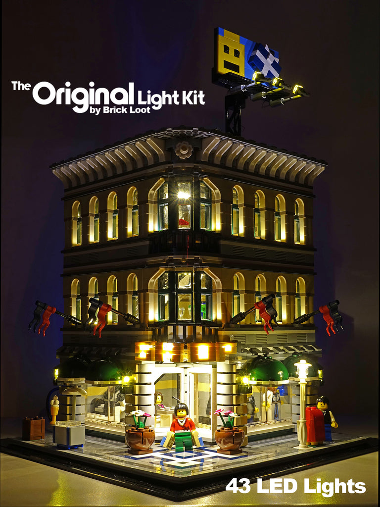 LEGO Grand Emporium set 10211 with the Brick Loot LED Light Kit installed.