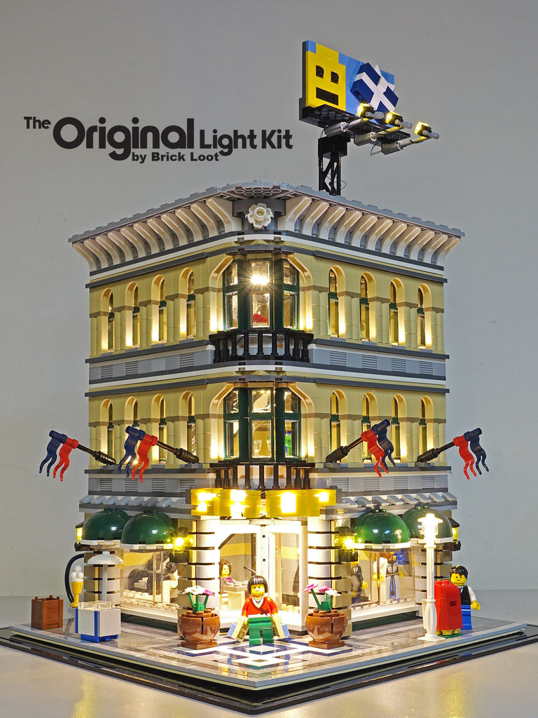 LEGO Grand Emporium set 10211 with the Brick Loot LED Light Kit installed. Brilliant day or night.