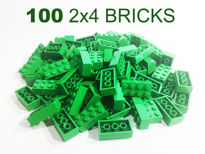 100 Pack - 2x4 Green Bricks - Bulk LEGO Compatible