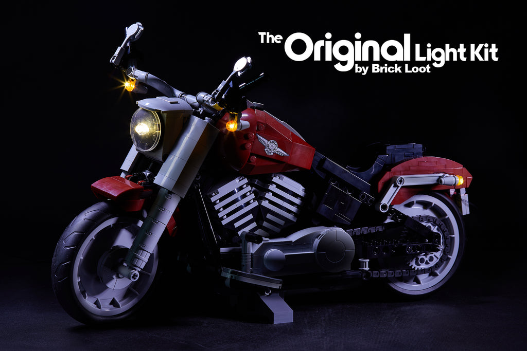 LEGO Harley Davidson Fat Boy Motorcycle set 10269, illuminated with the Brick Loot custom LED light kit.