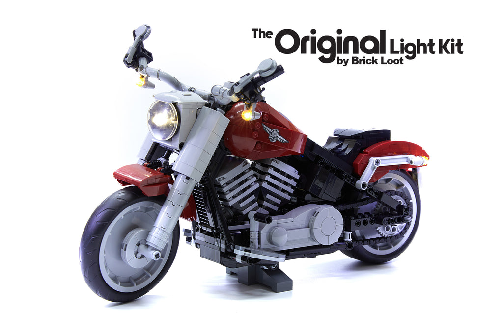 LEGO Harley Davidson Fat Boy Motorcycle set 10269, illuminated with the Brick Loot custom LED kit - brilliant day and night!
