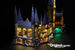 LEGO Harry Potter Hogwarts Castle set 71043 with the Brick Loot LED Light Kit installed.