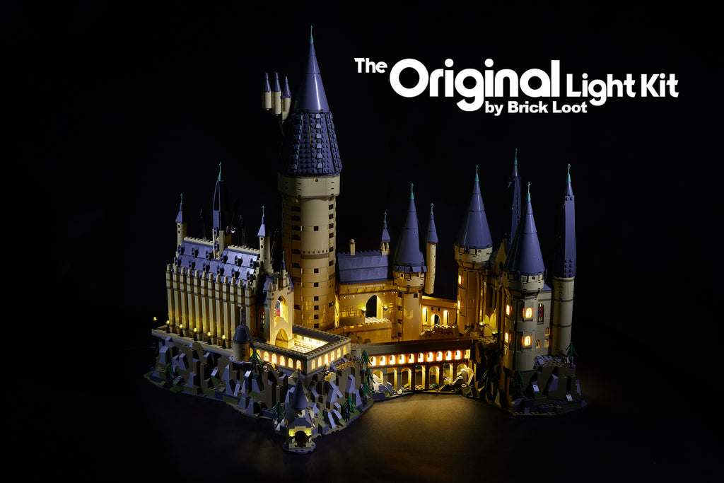 Exterior of the LEGO Harry Potter Hogwarts Castle set 71043 with the Brick Loot LED Light Kit installed.