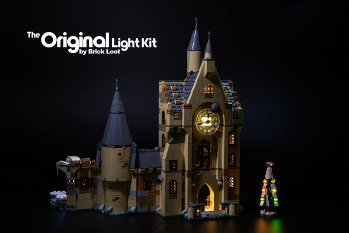 LEGO Harry Potter Hogwarts Clock Tower set 75948 with the Brick Loot LED Light Kit.