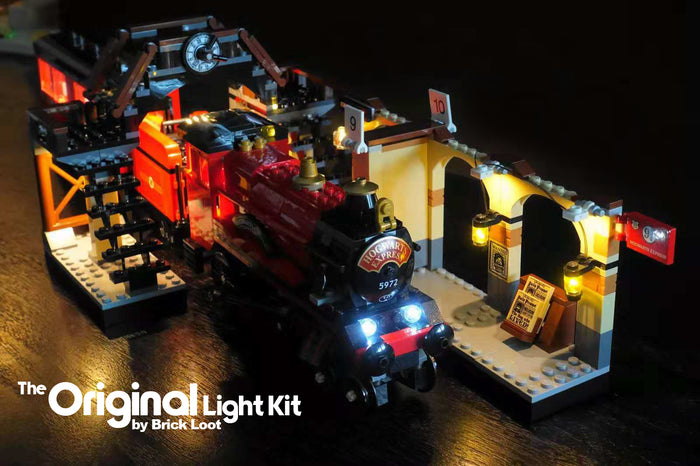 LEGO Harry Potter Hogwarts Express train set 75955 with the Brick Loot LED Lighting Kit.