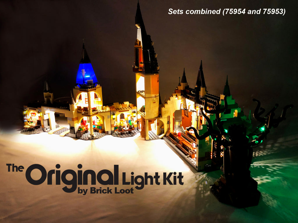 LEGO Harry Potter Great Hall set 75954 and LEGO Harry Potter Whomping Willow set 75953 with the custom Brick Loot LED Kits installed.