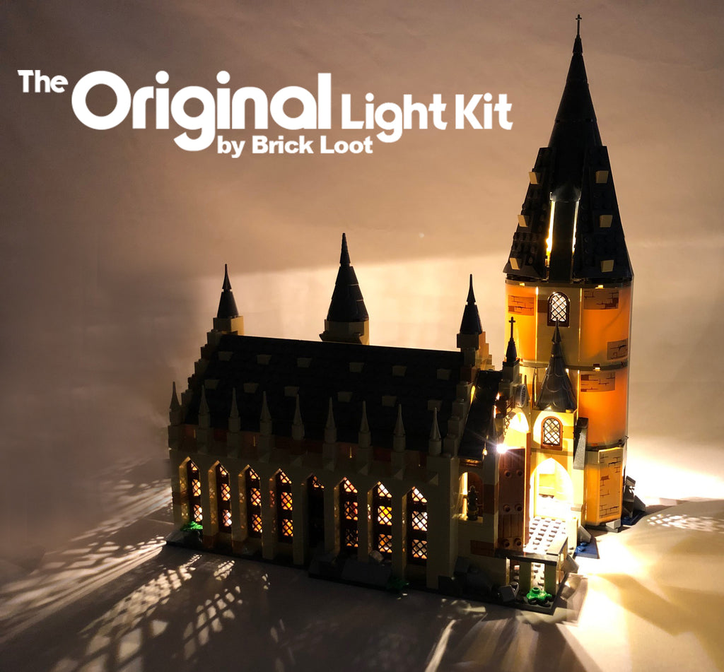 LEGO Harry Potter Hogwarts Great Hall 75954, beautifully illuminated with the Brick Loot LED Light Kit installed.