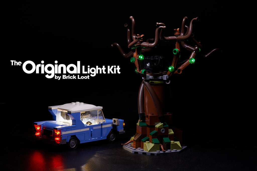 The car and tree from the LEGO Harry Potter Hogwarts Whomping Willow set 75953, lit up with the colorful Brick Loot LED Light Kit.